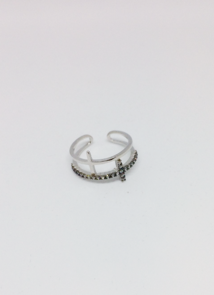 Silver Two Cross Adjustable Ring